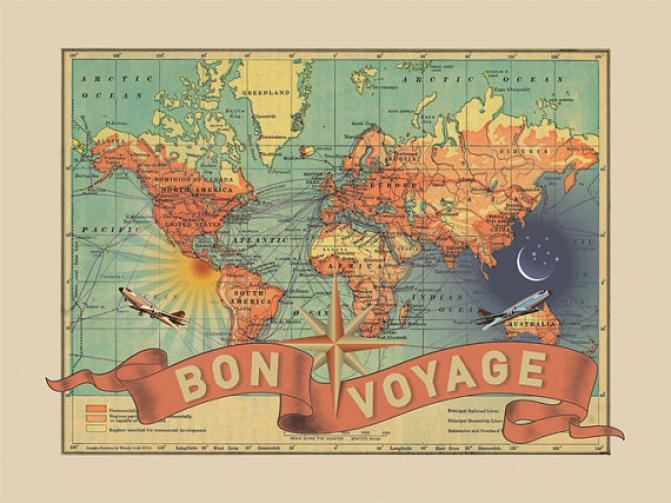 Bon Voyage, Goodbye, Good bye, Travel, Mustard, Sail, Boat, Cute ,Print, Poster