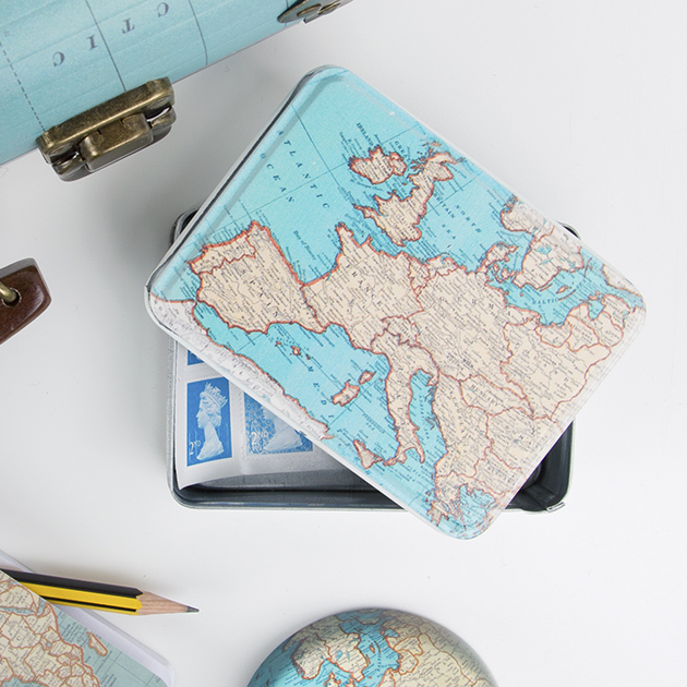 Sass & belle, Sass & Bell, Travel Style, Travel Blog, Map, Suitcase, Gift, vintage Map, Map tin