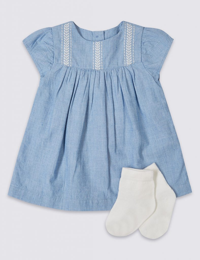 Blue smock dress - summer clothes for baby girls