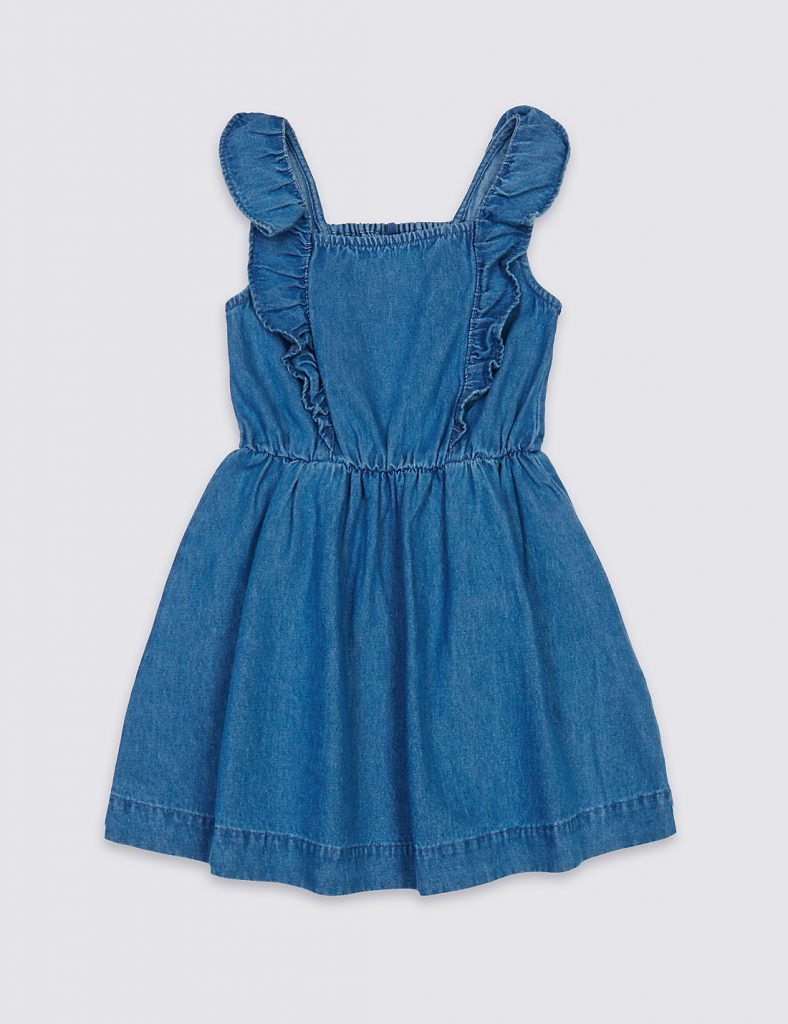 blue pinafore dress - summer clothes for baby girls