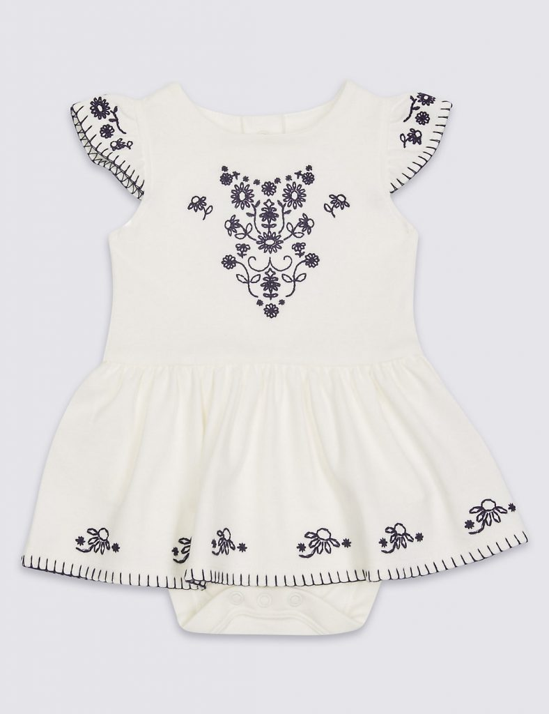 White Aztec summer dress newborn - summer clothes for baby girls