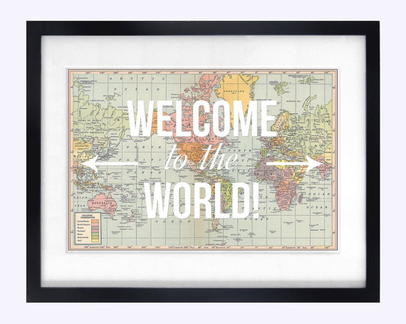 Travel baby art, Baby, art, nursery, travel, welcome to the world