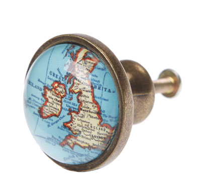 Sass & belle, Sass & Bell, Travel Style, Travel Blog, Map, Suitcase, Gift, vintage Map, drawer knob, knob