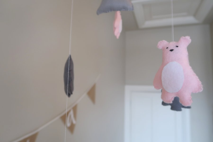 baby girl mobile, Cot Mobile, Pink Cot Mobile, Ceiling Mobile,