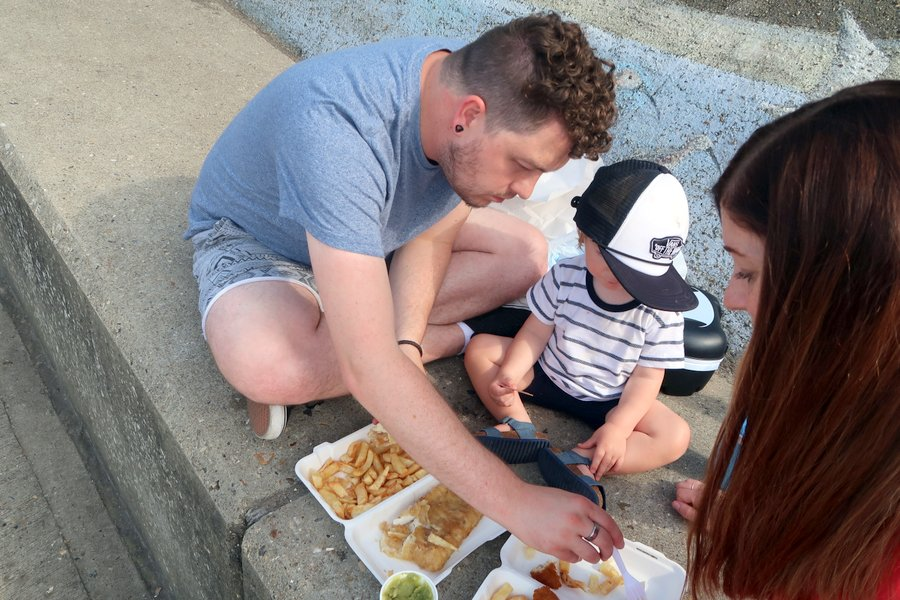 Family vacation in Norfolk, Sheringham, Fish and Chips